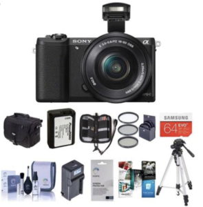 Sony A5100 mirrorless camera with accessories